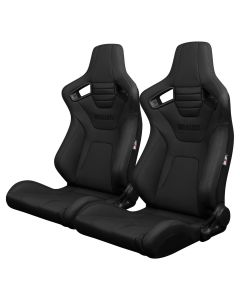 Braum ® - Pair of  Black Ultra Grip Fabric Elite-X Series Racing Seats With Black Stitching (BRR1X-BKUS)