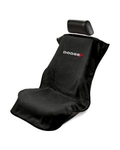 Seat Armour Black Towel Seat Cover with New Dodge Logo - Front-Right View