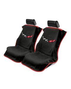 Black 3PC Towel Protectors For Corvette C5 - 2X Seats Covers & 1X Console Cover