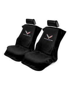 Black 3PC Towel Protectors For Corvette C7 - 2X Seats Covers & 1X Console Cover