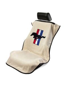 Seat Armour Tan Towel Seat Cover with Mustang Pony Logo - Front-Right View